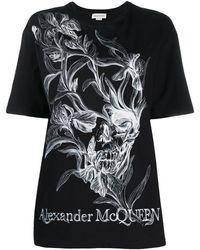 Alexander McQueen Футболка С Цветочным Принтом - Черный