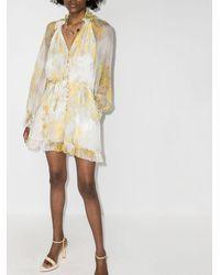 Zimmermann Платье Мини С Оборками - Желтый