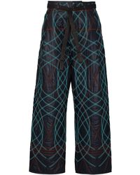 Craig Green Geometric Embroidered Trousers - Blue