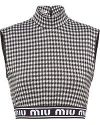 Miu Miu Houndstooth Wool-blend Crop Top - Black