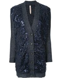 Antonio Marras Sequinned-floral Cardi-coat - Blue