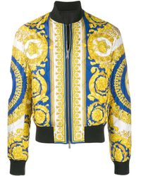Versace Baroque Printed Bomber Jacket - Yellow