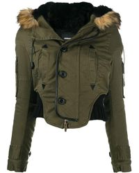DSquared² Cropped Parka Coat - Green