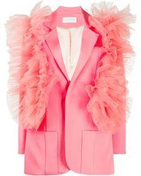 Loulou チュールトリム シングルジャケット - ピンク