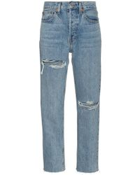RE/DONE - Stove Pipe 27 High Waist Straight Ripped Jeans - Lyst