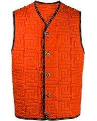 Versace Greca-quilted Sleeveless Jacket - Orange