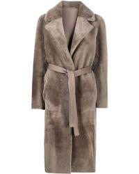 Blancha Пальто С Мехом И Поясом - Серый
