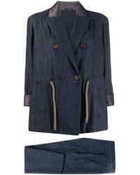 Brunello Cucinelli Two-piece Trouser Suit - Blue