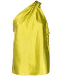Michelle Mason Draped One-shoulder Blouse - Green