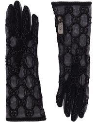 Gucci Guantes de encaje con motivo del logo - Negro