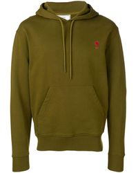 AMI Hoodie With Red Heart Patch - Green