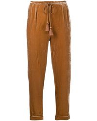 Mes Demoiselles Textured Cropped Pants - Brown