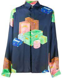 CASABLANCA Luggage シルクシャツ - ブルー