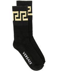 Versace Носки С Узором Greek Key - Черный
