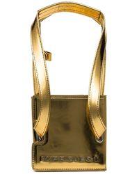 Y. Project Metallic Gold Accordion Mini Leather Tote Bag