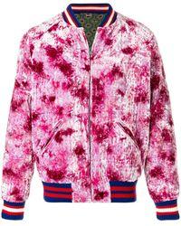 Gucci Dragon Appliqu�d Bomber Jacket - Roze