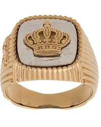 Dolce & Gabbana Crown Signet Ring - Metallic