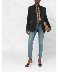 Gucci Cropped-Jeans im Distressed-Look - Blau