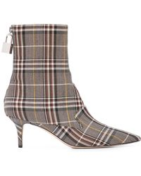 Monse Plaid Sock Boots - Gray