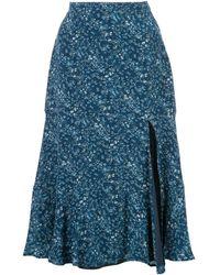 Altuzarra ラッフル フローラルスカート - ブルー