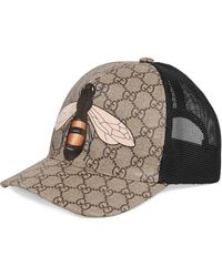 Gucci GG And Bee-print Mesh Hat - Natural
