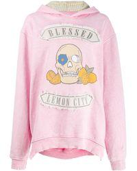 Alchemist Oversized Skull Hoodie - Pink