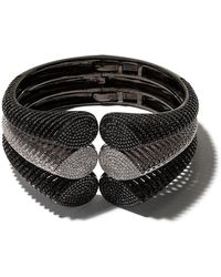 AS29 18kt Black And 18kt White Gold Spine Diamond Triple Cuff