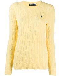Polo Ralph Lauren ロゴ ケーブルニット セーター - イエロー