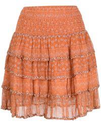 Mes Demoiselles フローラル ティアードスカート - オレンジ