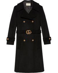 Gucci Mantel mit GG-Gürtel - Schwarz