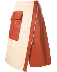 Cedric Charlier Front Zipped Skirt - Brown