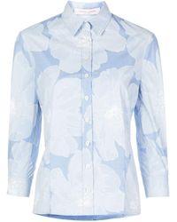 Carolina Herrera Floral Print Checked Shirt - Blue