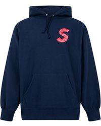 Supreme ロゴ パーカー - ブルー