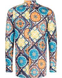 Gabriele Pasini Рубашка С Цветочным Принтом - Синий