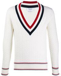 Thom Browne Vネック セーター - ホワイト