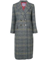 ALEXACHUNG - Plaid Double Breasted Coat - Lyst