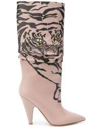 43f8666d66b The Attico Betta Crystal-embellished Tiger-print Calf Hair Knee ...