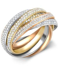 Cartier 18kt Rose, Yellow And White Gold Present Day Trinity Diamond Ring - Metallic