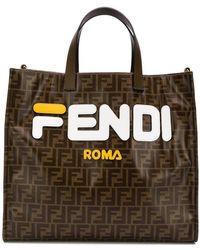 Fendi - Mania Brown And White Large Logo Print Tote Bag - Lyst