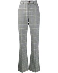 See By Chloé Checked High-rise Wide-leg Trousers - Black