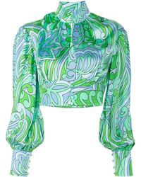 Alice McCALL Mexicola Floral-print Cropped Blouse - Green