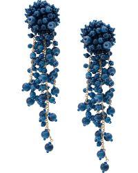 Oscar de la Renta Beaded Cascade Earrings - Blue