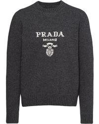 Prada ロゴ セーター - グレー