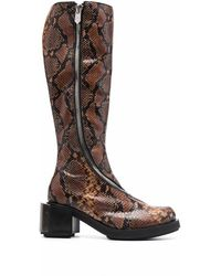 GmbH Snakeskin-effect Knee-high Riding Boots - Brown