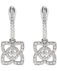De Beers - 18kt White Gold Enchanted Lotus Diamond Sleeper Earrings - Lyst