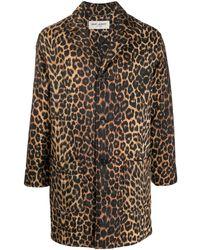 Saint Laurent - Mantel mit Leoparden-Print - Lyst