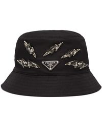 Prada Embellished Bucket Hat - Black