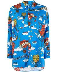 ALESSANDRO ENRIQUEZ Camisa oversize con estampado gráfico - Azul