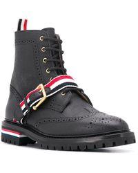 Thom Browne Rwb ストラップ ウイングチップ ブーツ - ブラック