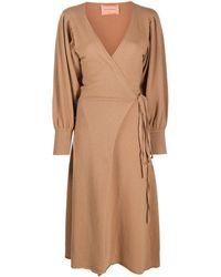 ANDAMANE Longsleeved Wrap Dress - Brown